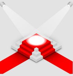 Illuminated square podium isometric vector