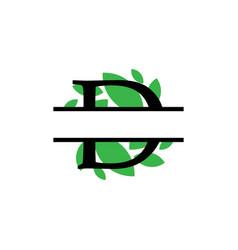 Initial d green leaf monogram split letter vector