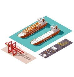 isometric cargo port elements vector image