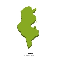 Isometric map of Tunisia detailed vector