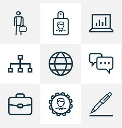 Job outline icons set collection of vector