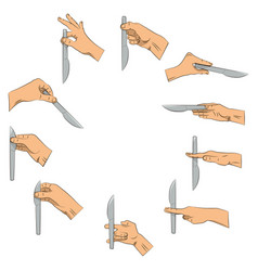 knife in hand right and wrong ways to hold knife vector image