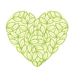 leaves in heart shape icon vector image