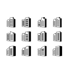 Line perspective company icons set buildings and vector