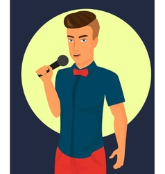 male rock singer with microphone vector image