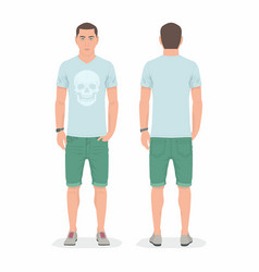 Man front and back views vector