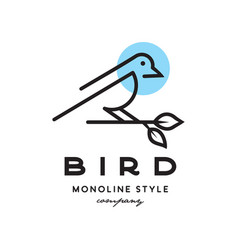 monoline bird stand logo vector image