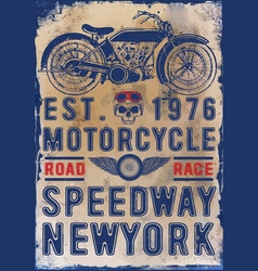 Motorcycle poster skull t-shirt graphic vector