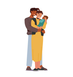 Multiracial loving parents with baby mother vector