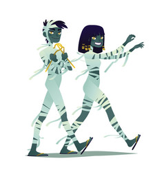 mummy couple halloween characters vector image