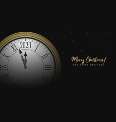 new year 2020 with golden round clock vector image