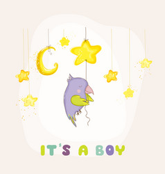 newborn parrot sleeping on star baby shower card vector image