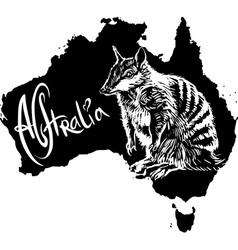 Numbat Myrmecobius fasciatus on map of Australia vector image