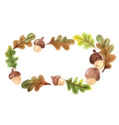 oak leave and oak seed frame watercolor vector image