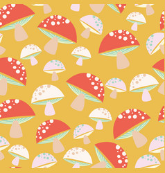 Orange with whimsical mushroom pattern background vector
