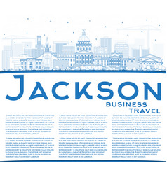 Outline jackson mississippi city skyline with vector