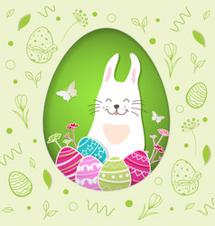 paper easter card with rabbit vector image