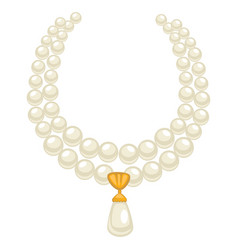 Pearl necklace in 1950s style isolated jewelry vector
