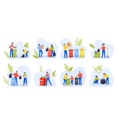 people separating garbage environment day recycle vector image