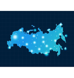 pixel Russia map with spot lights vector image