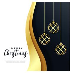 premium merry christmas festival golden greeting vector image