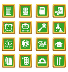 School education icons set green square vector