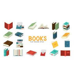 Set books flat design style vector