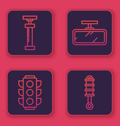 Set line car air pump traffic light car mirror vector