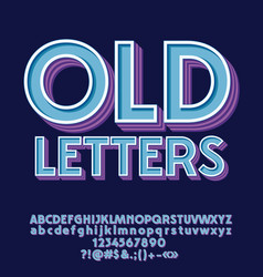 set of old decorative letters numbers and symbols vector image