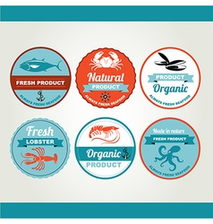 Set seafood icons crab fish shrimp retro labels vector