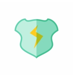 Shield with lightning bolt icon flat style vector