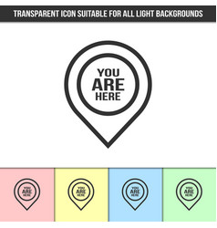 Simple outline transparent you are here pointer vector