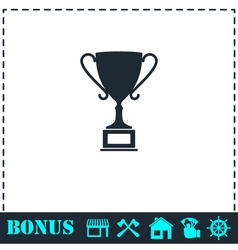 Sports cup icon flat vector