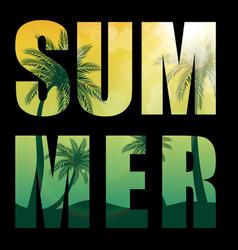 summer word from beautifil palm tree leaf vector image