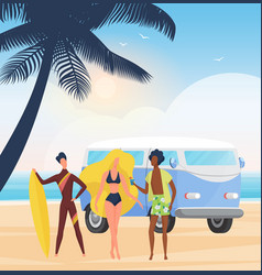 surfer people with surfboards on summer sea beach vector image