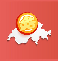 swiss cheese on map of switzerland vector image