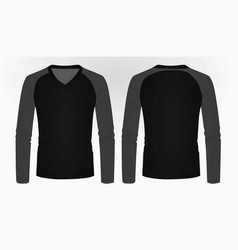 T shirt long sleeve v neck vector