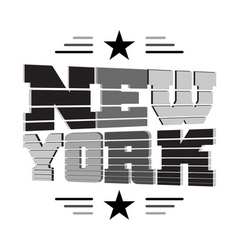 T shirt New York black gray white star vector