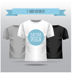 T-shirt set white grey black template vector