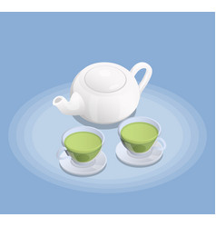 tea industry isometric composition vector image