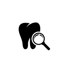 teeth inspection with magnifying glass flat vector image