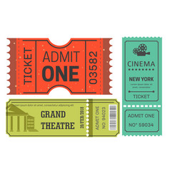 tickets cinema and theater admission or pass vector image