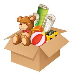 Toys in a box vector image vector image