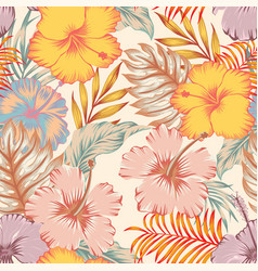 Tropical hibiscus flowers leaves seamless white vector