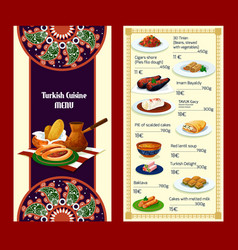 turkish cuisine menu with delights and meat dishes vector image