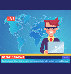 Tv newscaster man reporting breaking news vector