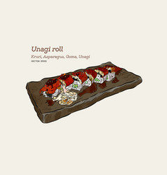 Unagi roll hand draw sketch vector
