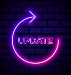 Update arrows pink glowing neon ui ux icon vector