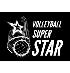Volleyball super star design vector image