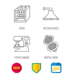 waffle-iron coffee maker and oven icons vector image